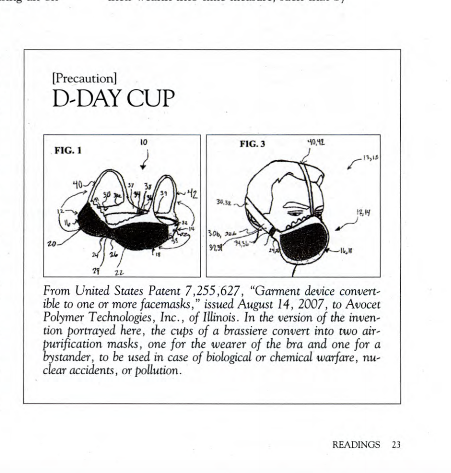 image of patent application for bra that converts to particulate-filtering face masks