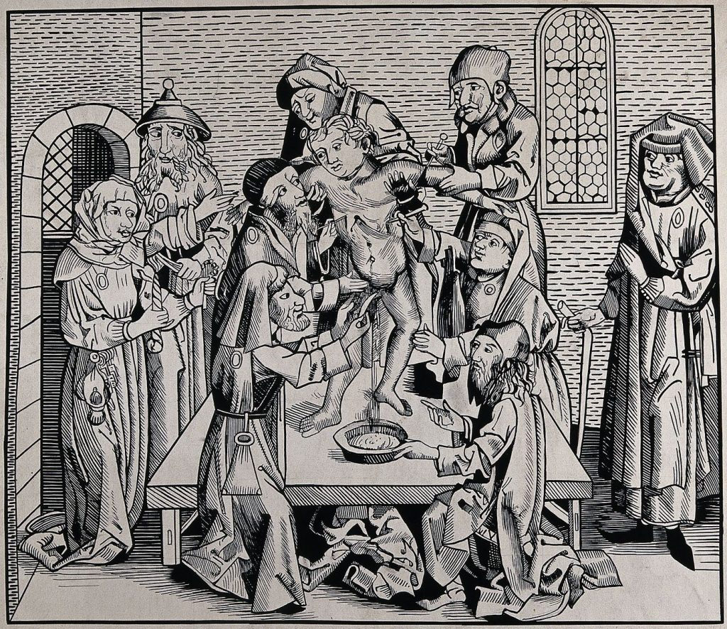 Anti-Jewish woodcut depicting  blood libel child murder