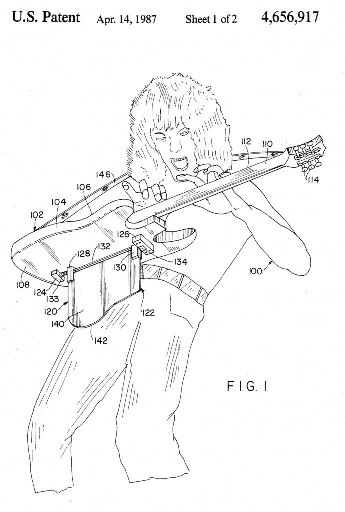 """Fig 1, US Patent 4,656,917, """"Musical instrument support,"""" Eddie Van Halen"""
